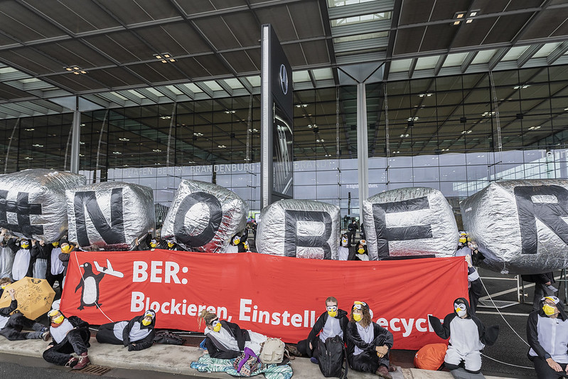 Hundreds of Penguin Climate Activists Block Berlin Airport BER Opening