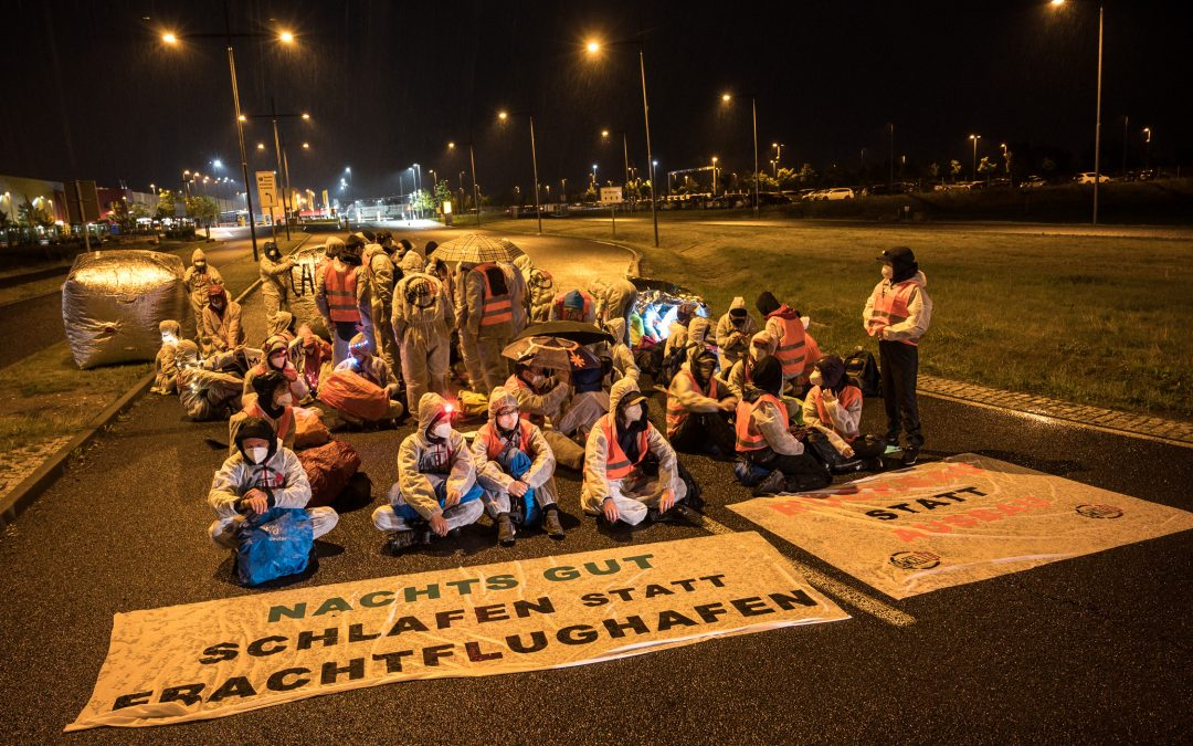 Activists block Leipzig Halle Cargo Airport in protest against planned expansion